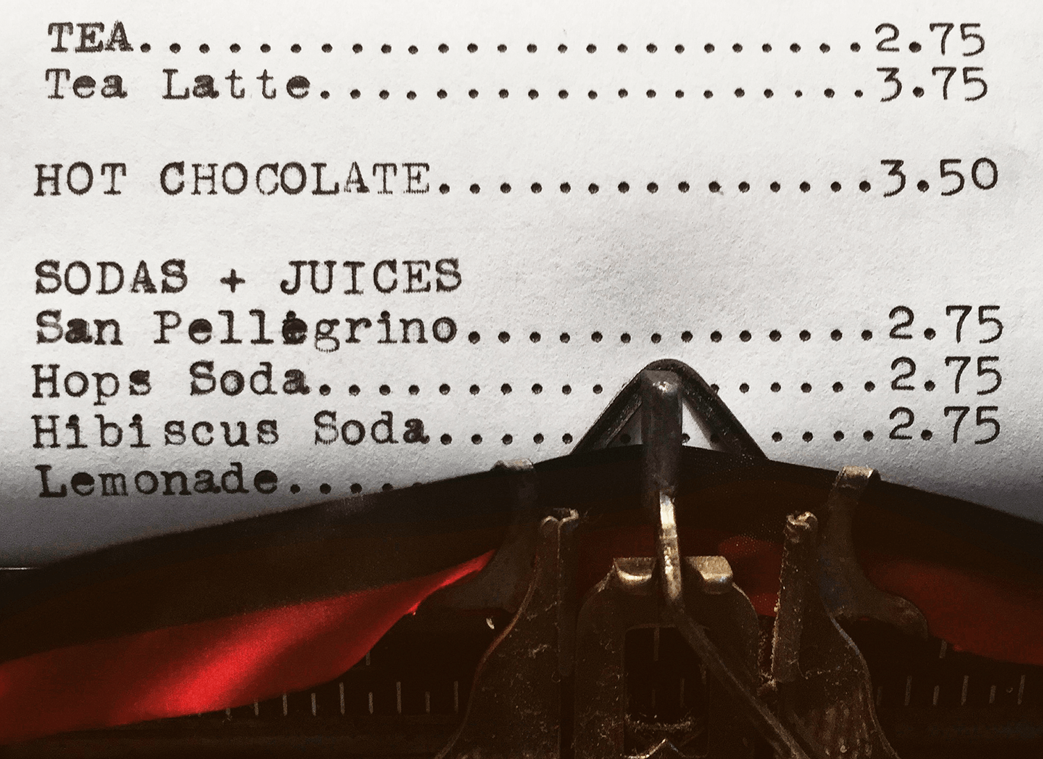 First, I typed out the menu on Michael's grandfather's Smith Corona.