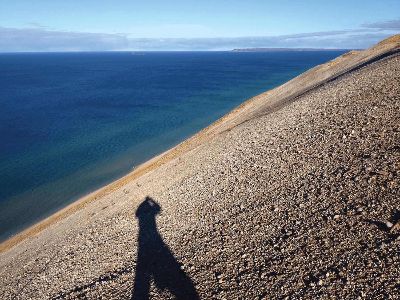 Self-portrait with Lake Michigan, 2013