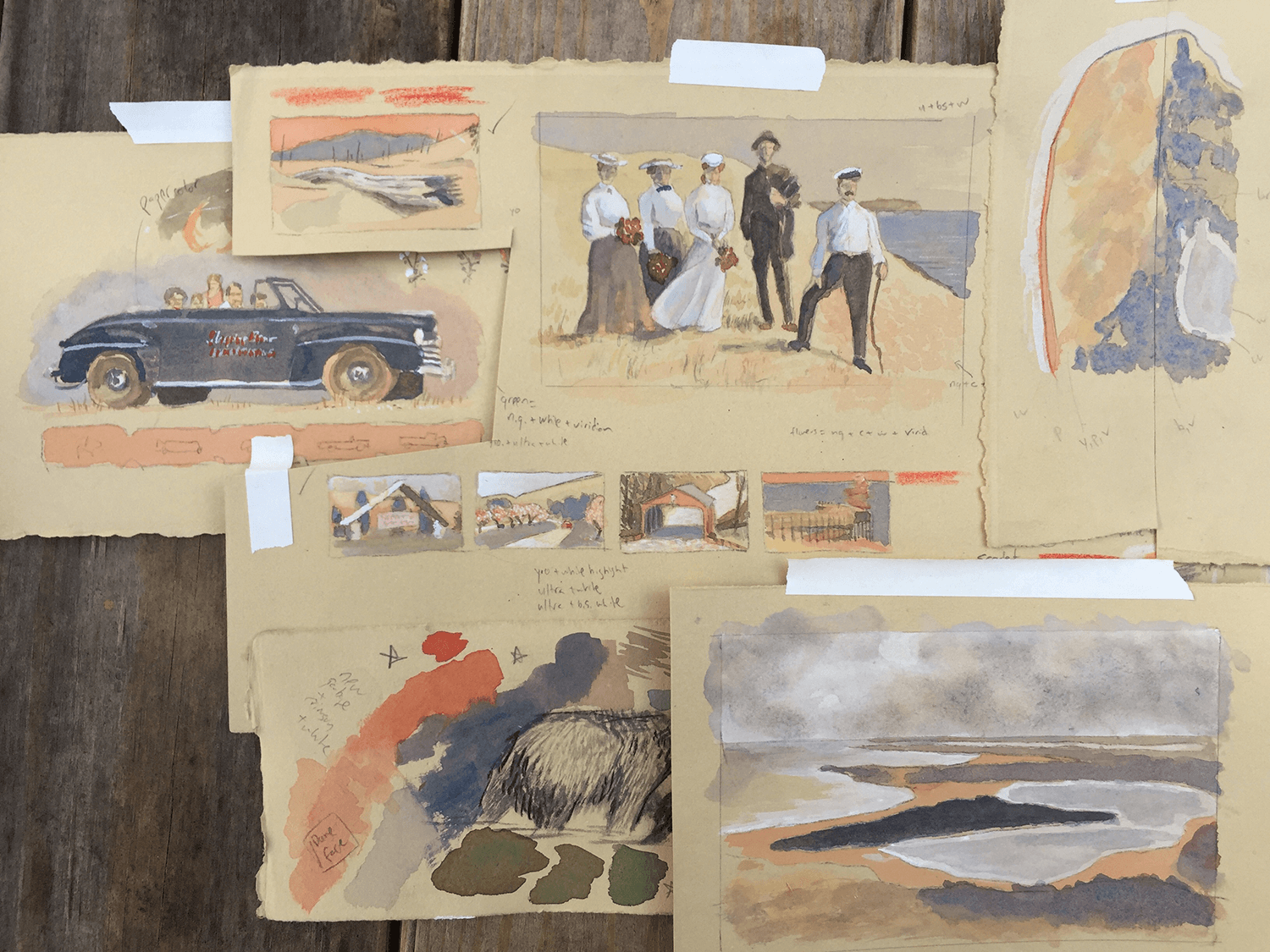 Color palette tests on toned paper