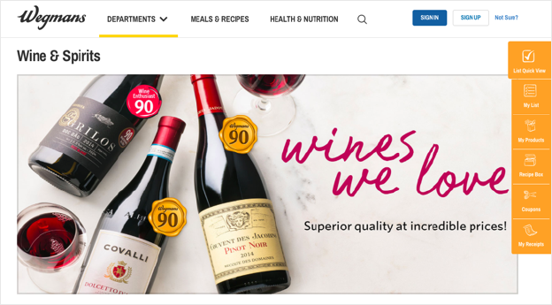 Example of Wine and Spirits category landing page on wegmans.com