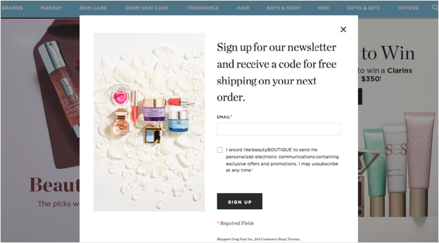 Example of newsletter prompt with product feature from shoppersdrugmart.com