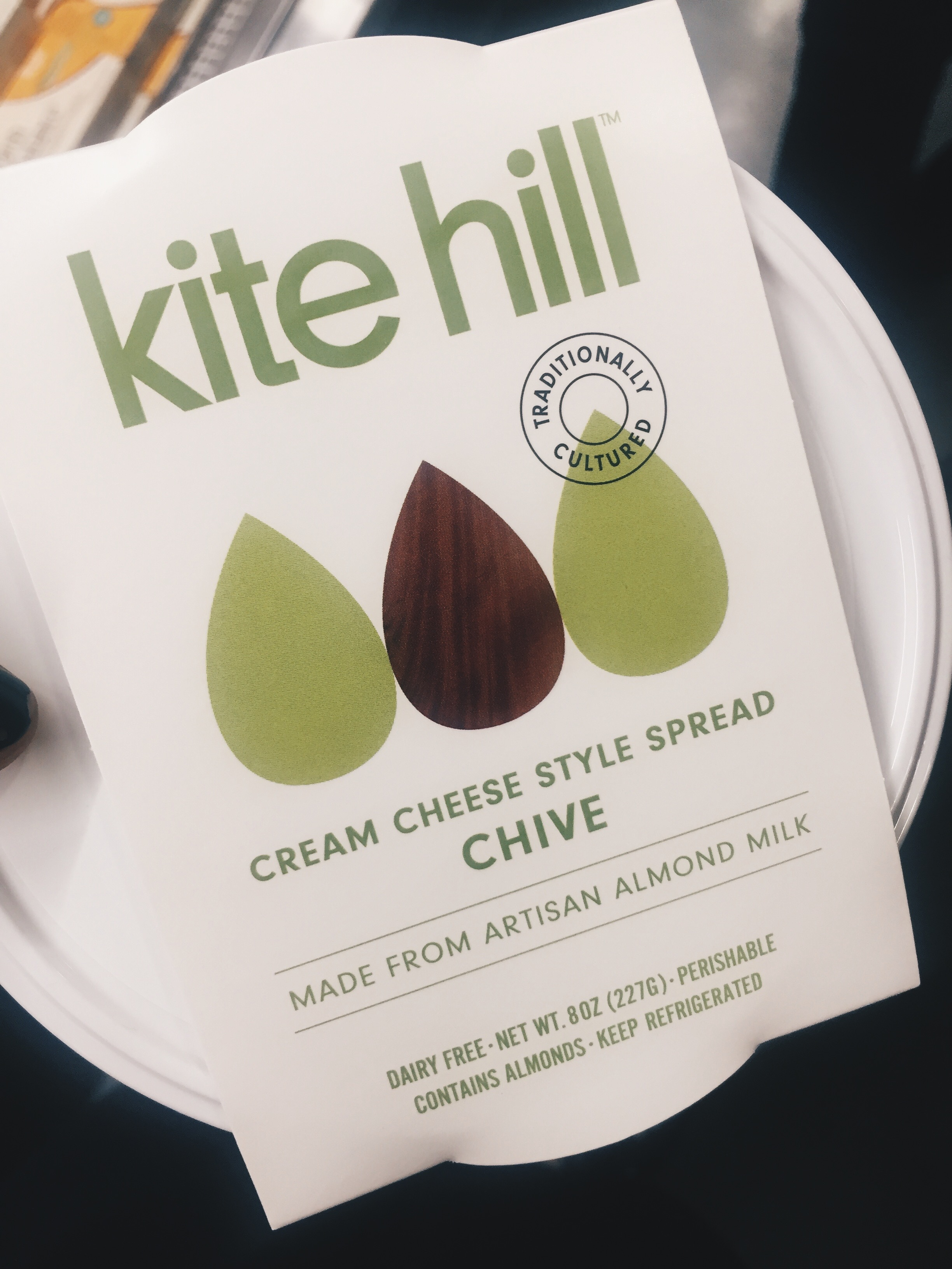 "if you have any issues w dairy GET THIS BRAND. i LOVE cream cheese but it's on the naughty list for now so this is the ultimate ""trick your mind"" alternative. tastes amazing and made from almonds. what a time to be alive. read their story  here !!"