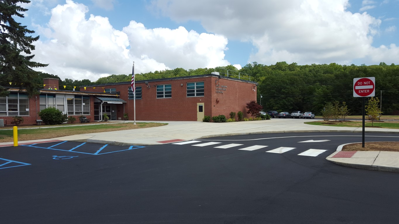 New main entrance, completely ADA accessible, ready to welcome back the students, parnet and staff.
