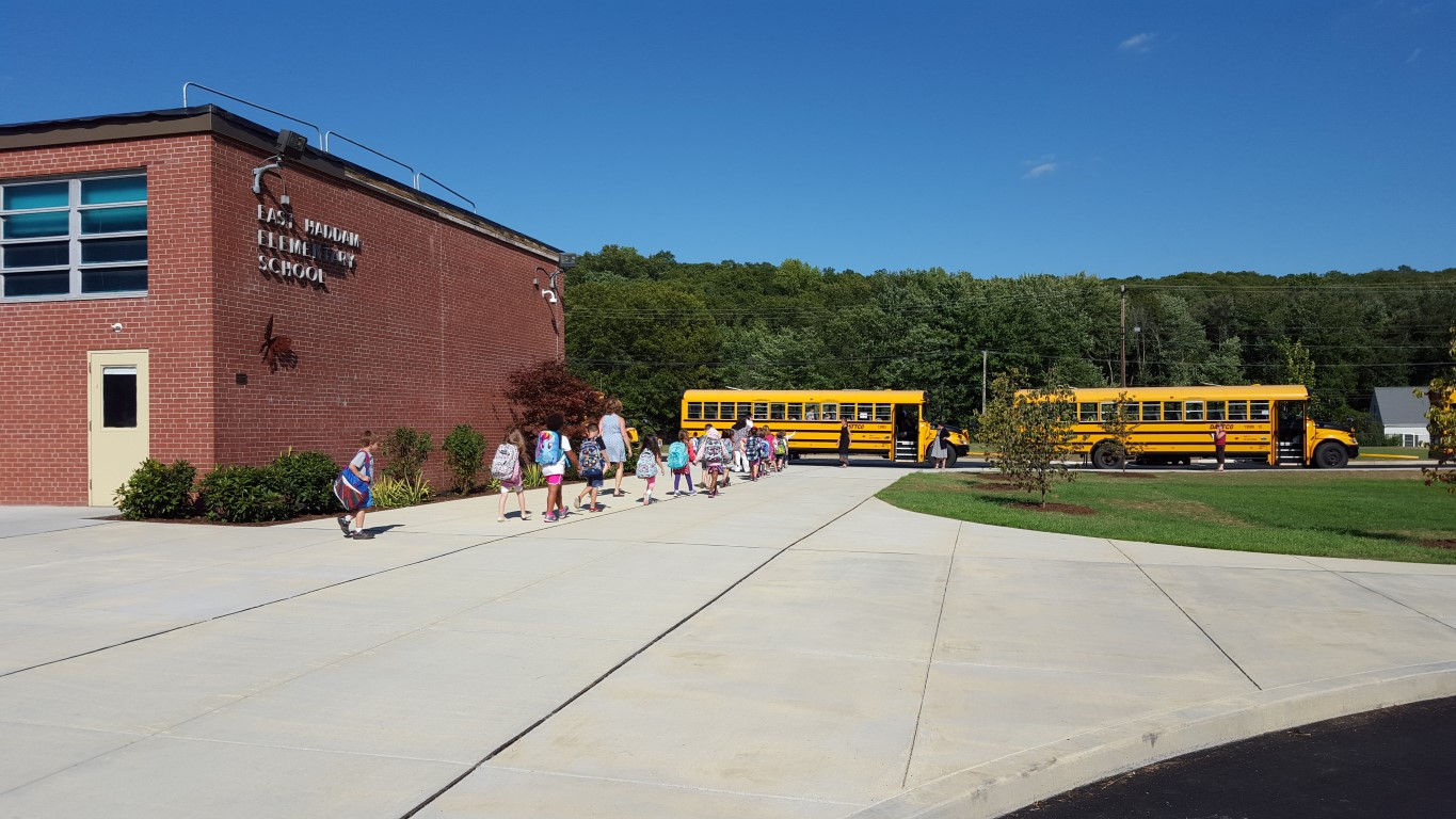 From the entrance, across the plaza to their buses - all on the safety of the new sidewalk.