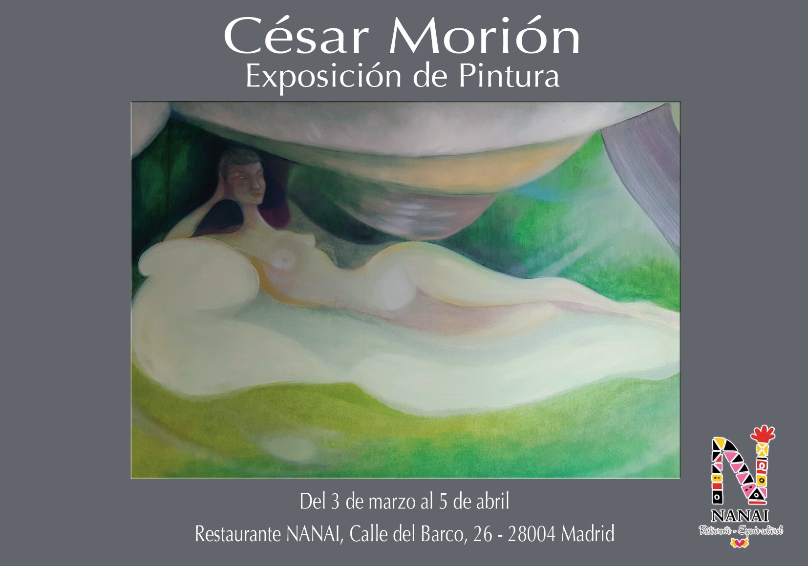 The exhibition was individual and was composed of 12 paintings, eight of 100x70 cm, 2 of 90x70 cm plus two smaller works. Unfortunatly it was retired a few days earlier due to unexpectable and regretable disagreements with the managers of the place (a couple), The management only interested in decorating their place for free and not prone to do anything at all that could improve the final result of the show rejeced all simple and easy improvements on light (paintings were left in darkness) also being unusually unrustworthy. I cannot therefore recommend to any genuine artist this place to exhibit .