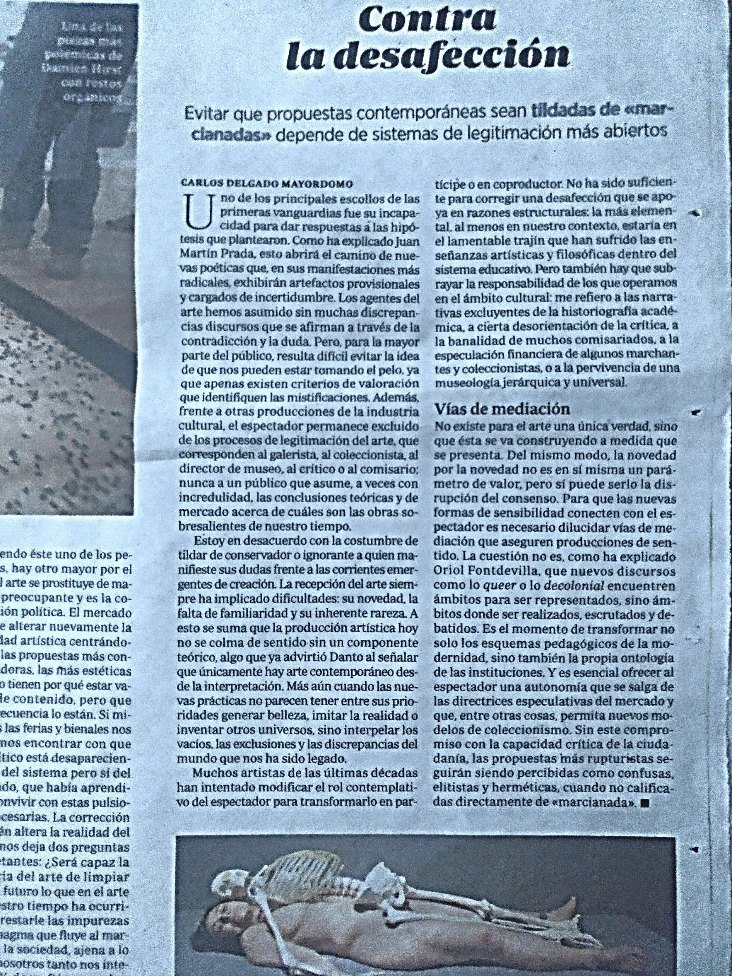 Para ir al articulo objeto de critica en la red: https://www.abc.es/cultura/cultural/abci-contra-desafeccion-arte-contemporaneo-201901300235_noticia.html