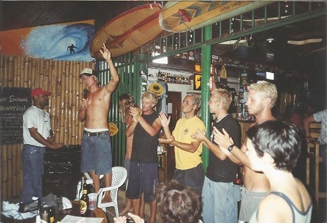 First person to correctly pickout @alexmorrispdx from this photo gets a free beverage of your choice next time you're at the shop!! * It is Alex's birthday today and this photo is from his surf instructor days in Tamarindo, Costa Rica. Happy birthday, old man!! 🤙🏽🏄🏽‍♂️ #bleachedtips #surfsup #bossman