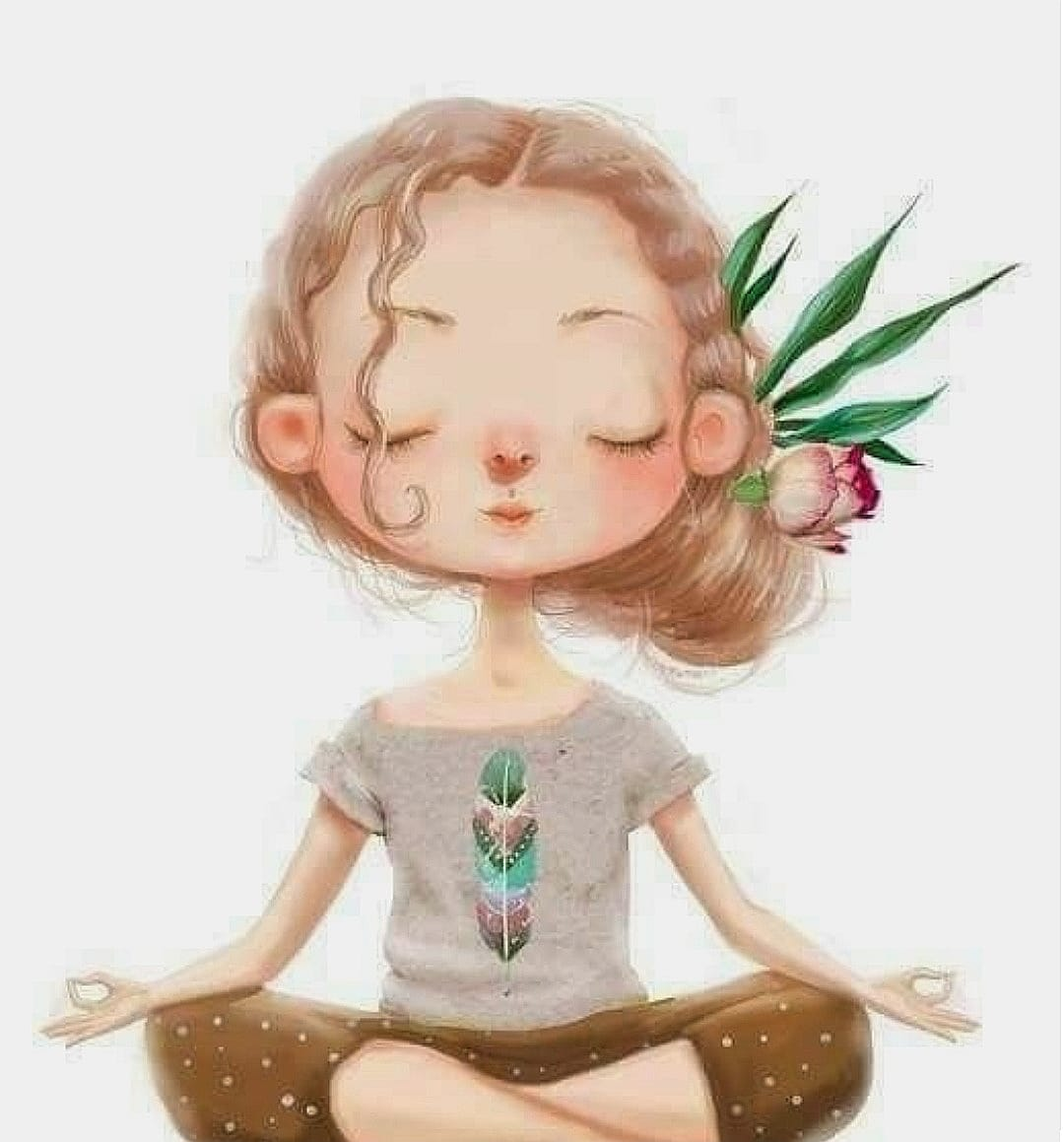 Bambina che medita in posizione del loto