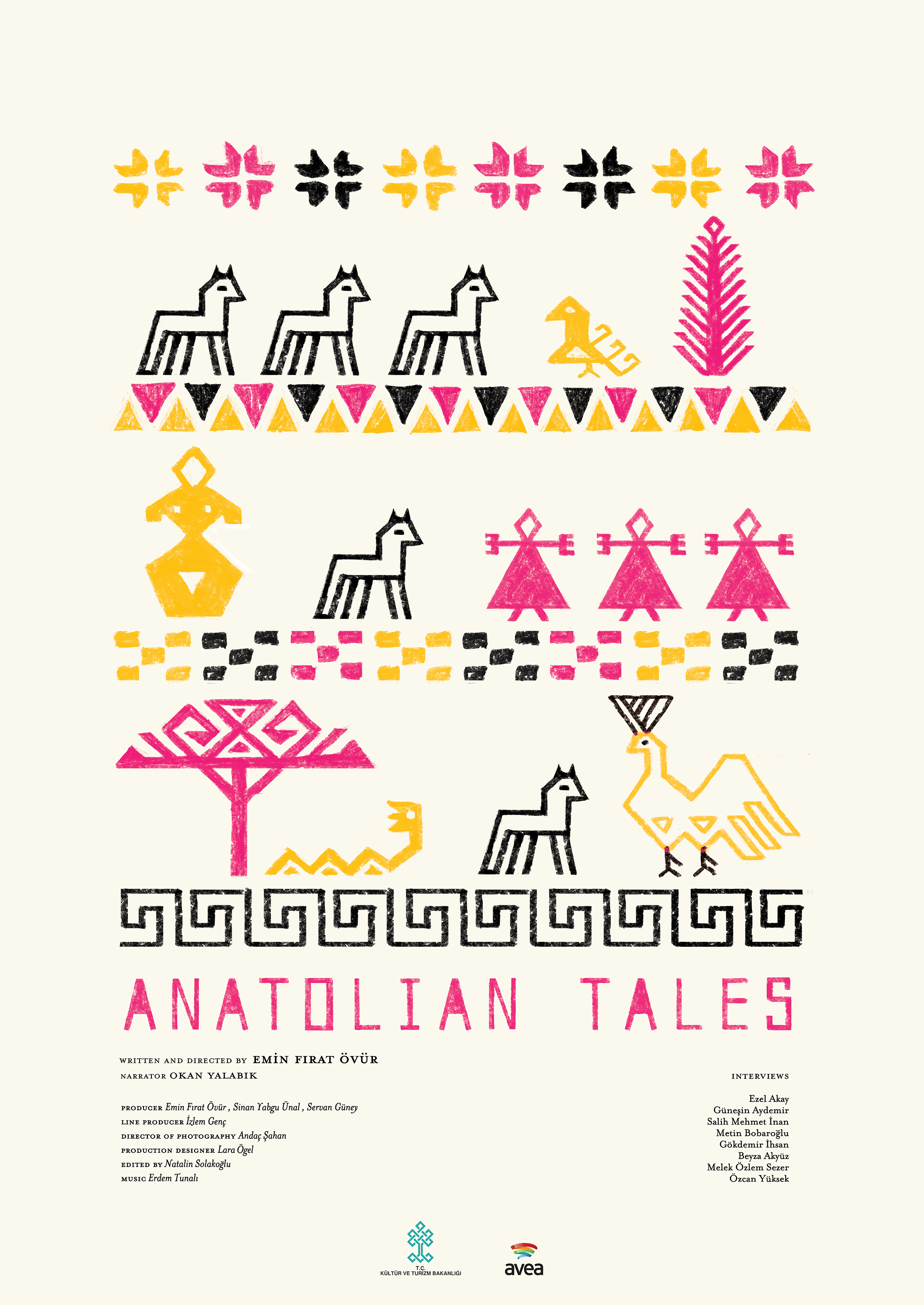 Poster I designed and illustrated   for docu-drama about Anatolian   t ales. The visual language of the piece is  inspired by   I  nandik Vase   and Turkish traditional kilim motifs.