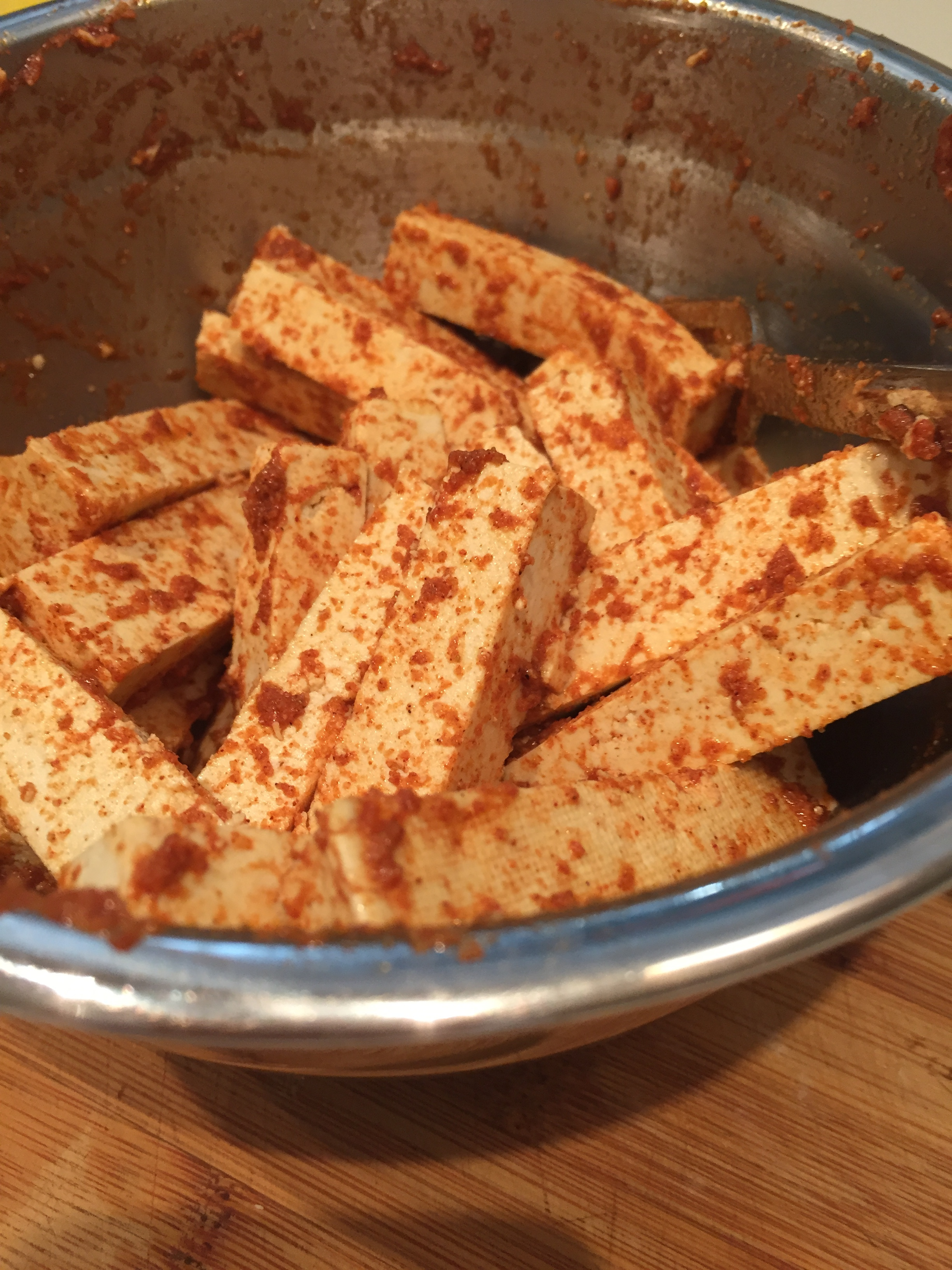 Tofu strips in spices