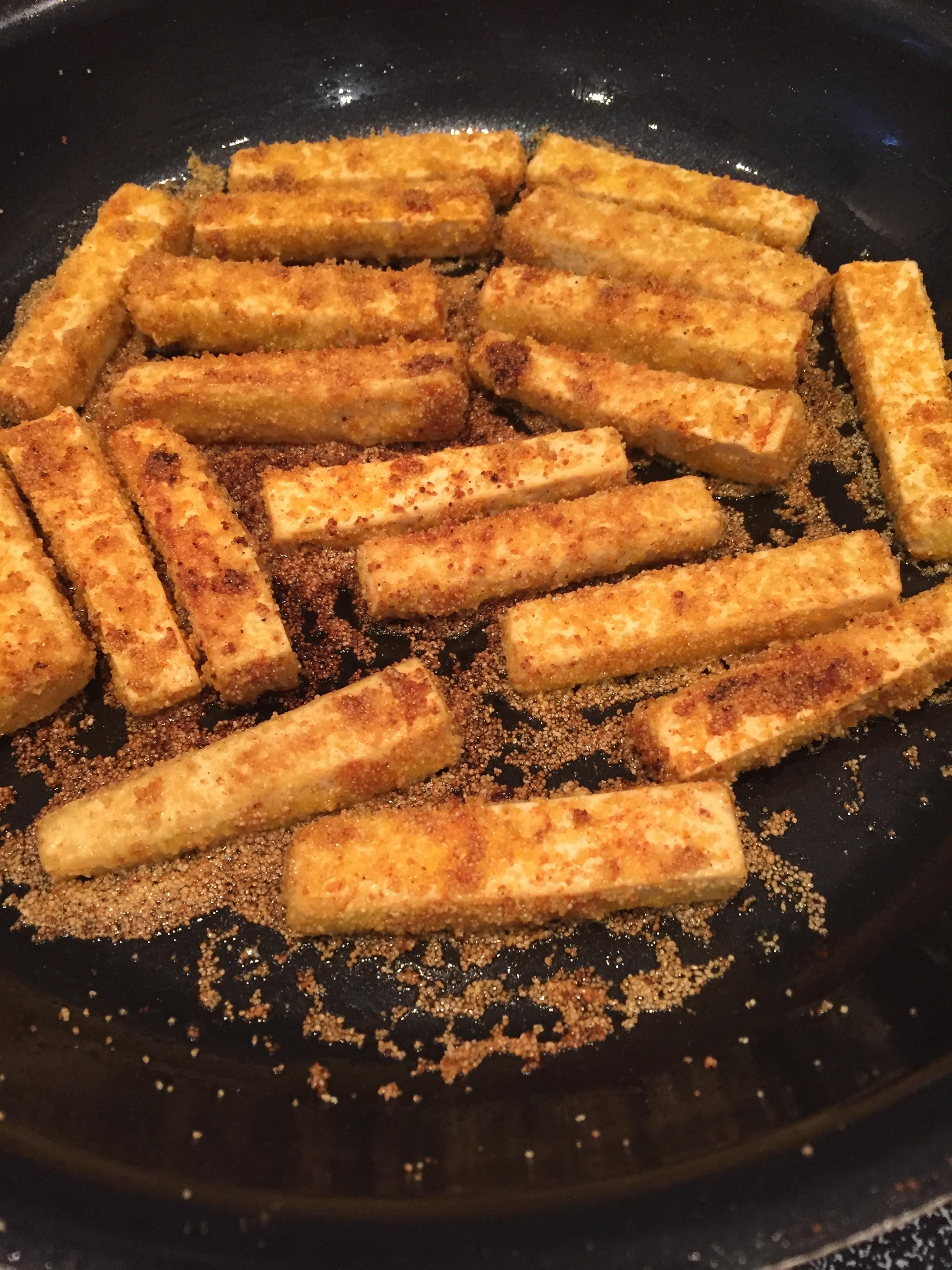 Tofu lightly fried in avocado oil