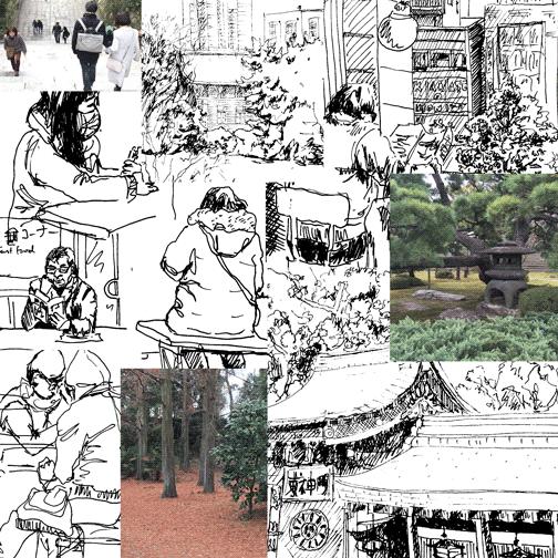 Bocetos realizados por Anna en Japón
