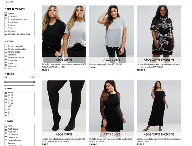 """Prendas de ropa para mujer en """"Asos Curve"""""""