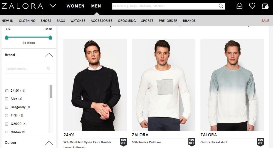 Ejemplo de ropa de la marca Zalora para hombre.