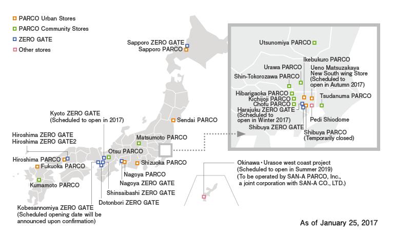 Localización de los centros PARCO. Plano actualizado en enero de 2017. Imagen de la web oficial de PARCO