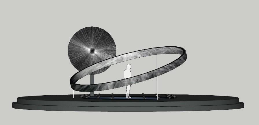 Heliocentric {Spiral}  - Compleja disposición de luces, música y pantallas de LED. Simulación del movimiento del universo.