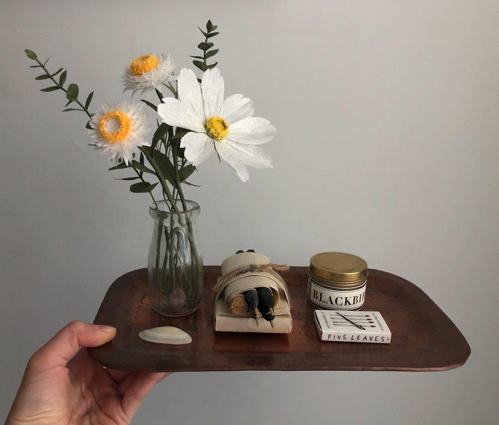 Tiny Bouquet -  Strawflowers, Eucalyptus & *Cosmos Flower (*Fine Art of Paper Flowers - Tiffanie Turner)