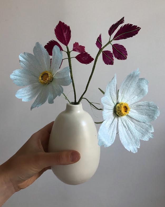 Dr. Seuss Arrangement - Baby Blue *Cosmos Flowers and Purple Leaf Stems  *Tiffanie Turner - Fine Art of Paper Flowers