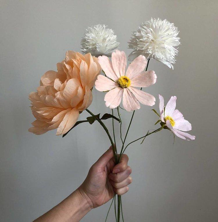 Mixed Flower Arrangement (Peach Peony, White Pom Pom Poppy, Pink Cosmos) -  Tiffanie Turner - Fine Art of Paper Flowers