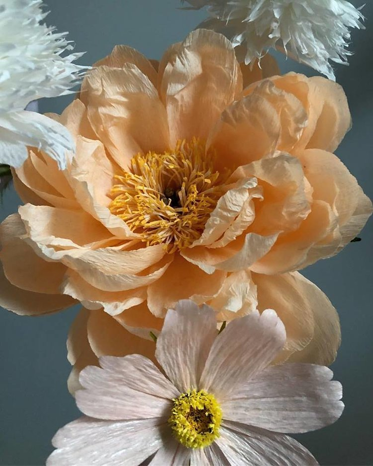 Mixed Flower Arrangement - Close Up (Peach Peony, White Pom Pom Poppy, Pink Cosmos) -  Tiffanie Turner - Fine Art of Paper Flowers