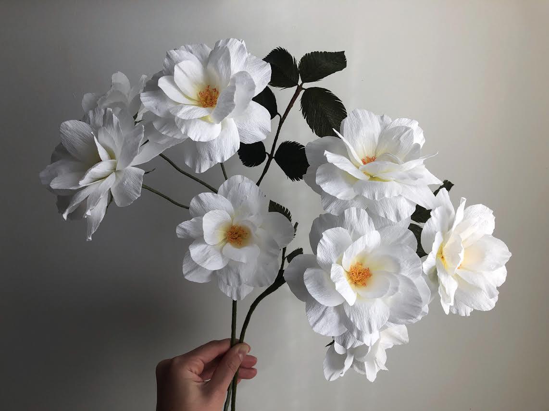 Double Floribunda Rose Branch - White -  Fine Art of Paper Flowers - Tiffanie Turner