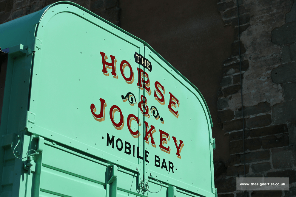 Converted Horse Box. Traditional Sign Writing