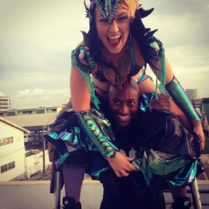 Using Mandela's shoulders to get on my stilts...        Why didn't I think of this before?!