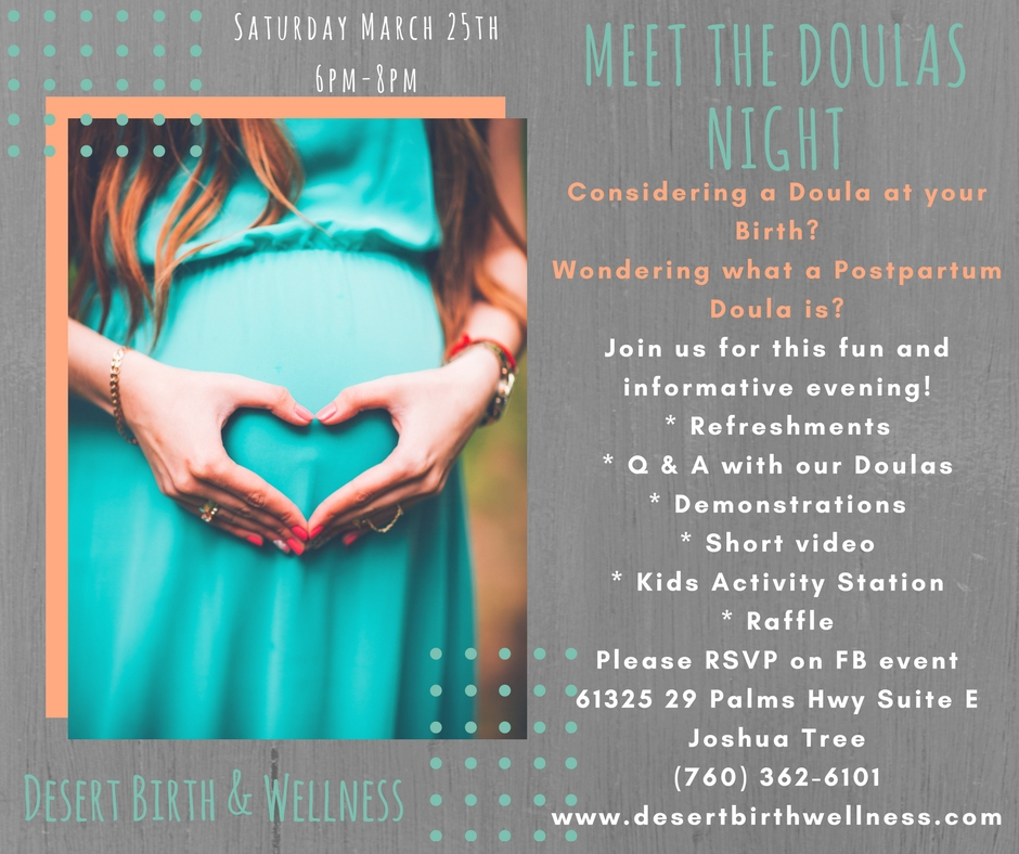 Join us for our first Meet the Doula's night! Expecting? Come check out what services Desert Birth & Wellness offers while meeting our Doulas.This relaxed evening is filled with education, family & fun! No sitter? No problem, we'll have a kids corner set up to keep your little ones happy. This is a free event open to everyone. We do ask that you please RSVP so we have enough refreshments. I heard there's some awesome raffle prizes.Looking forward to seeing you there!