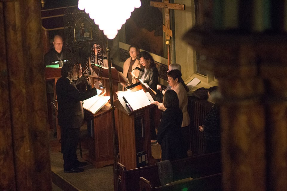 Parish singers at an evening service