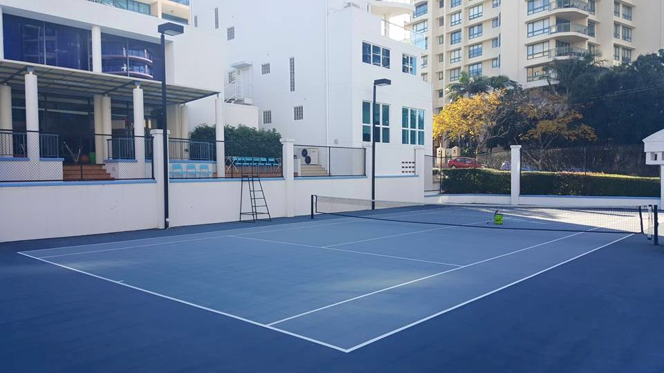 The Kangaroo Point Sports and Tennis Club courts back in 2011 - prior to the new Tennis Australia Blue upgrade.