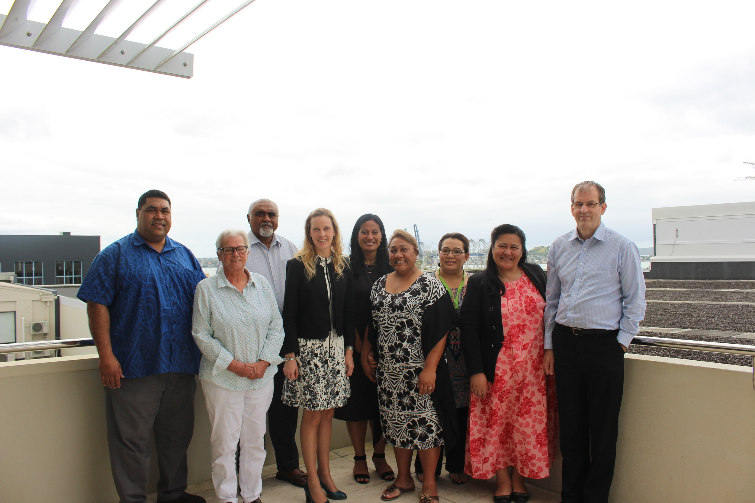 The team on the balcony of the PASAI Secretariat office in Parnell, Auckland.