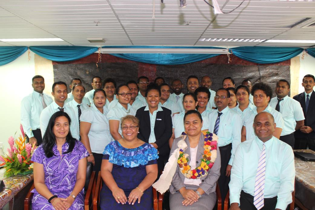 Fiji Office of the Auditor-General Directors and Senior management staff with the Permanent Secretary of Ministry of Economy, Ms Makereta Konrote (front row, second from the right) and PASAI workshop facilitators.