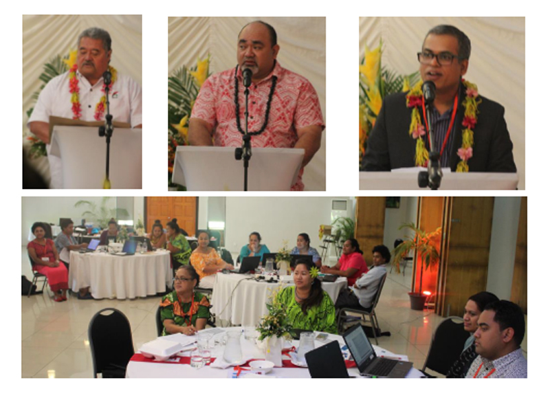 The Pacific regional program on compliance audit of public procurement - L-R: Keynote Speaker Honorable Minister of Audit Office – Hon. Salā Fata Pinati, Controller & Auditor-General –Fuimaono Afele, INTOSAI Development Initiative (IDI) Program Manager PASAI region, Mr Md Shofiqul Islam