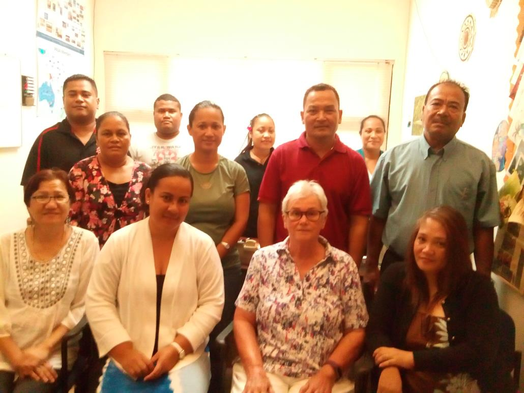 (Front row, left-right: Concepcion Arles - Audit Manager, Alice George, Claire Kelly, Emma Balagot; Middle row, left-right: Bryan Y Dabugsiy, Irene Laabrug - Senior Staff Auditor, Leelkan P Southwick, Achilles Defngin, Stoney Taulung; Back row, left-right: Jesse Foruw – Investigator, Emma Gilyan and Berlinda Bay – Staff Auditor)