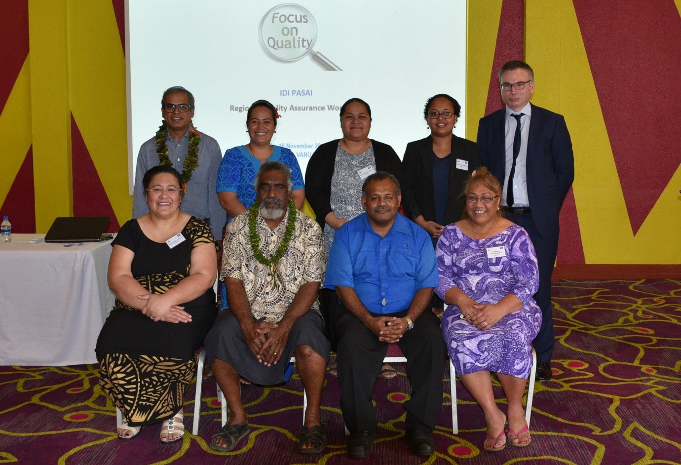 Back Row L-R : IDI Capacity Manager MD Shofiqul Islam, Morina Faasisila SAI Samoa, Fatafehi Taumohoha'apai SAI Tonga, Meresimani Vosawale SAI Fiji, Nick Johnston NZ OAG   Front Row L-R:  A'eau Agnes Aruwafu, PASAI Director Technical Support; Chairman of PAC Vanuatu, Hon Ephraim Kalsakau; Vanuatu Auditor-General, Mr Caleb Sandy and Mrs Sina Palamo-Iosefo, PASAI Director Practice Development