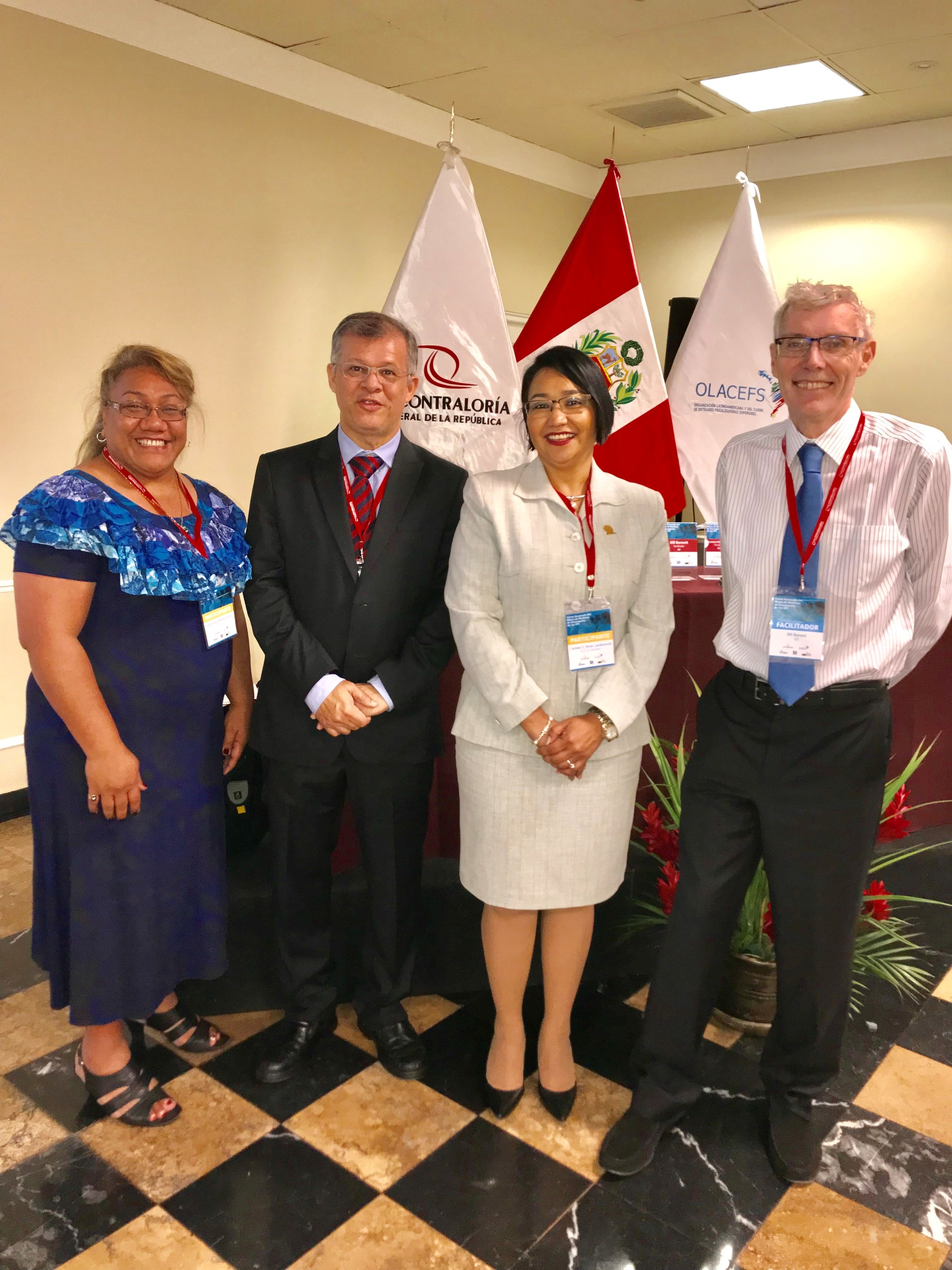 PASAI were invited to attend the OLACEFS planning meeting on SAI PMF in Lima, Peru 11 -15 February 2018.  Sina is left, with Chair of CEDEIR and President of SAI El Savador, Mrs Carmen Elena, and the facilitators – Mr Horacio (from SAI Brazil) and Mr Bill Burnett, a Consultant engaged by IDI to conduct independent quality assurance review of SAI Performance reports, including the reports of SAIs in our region