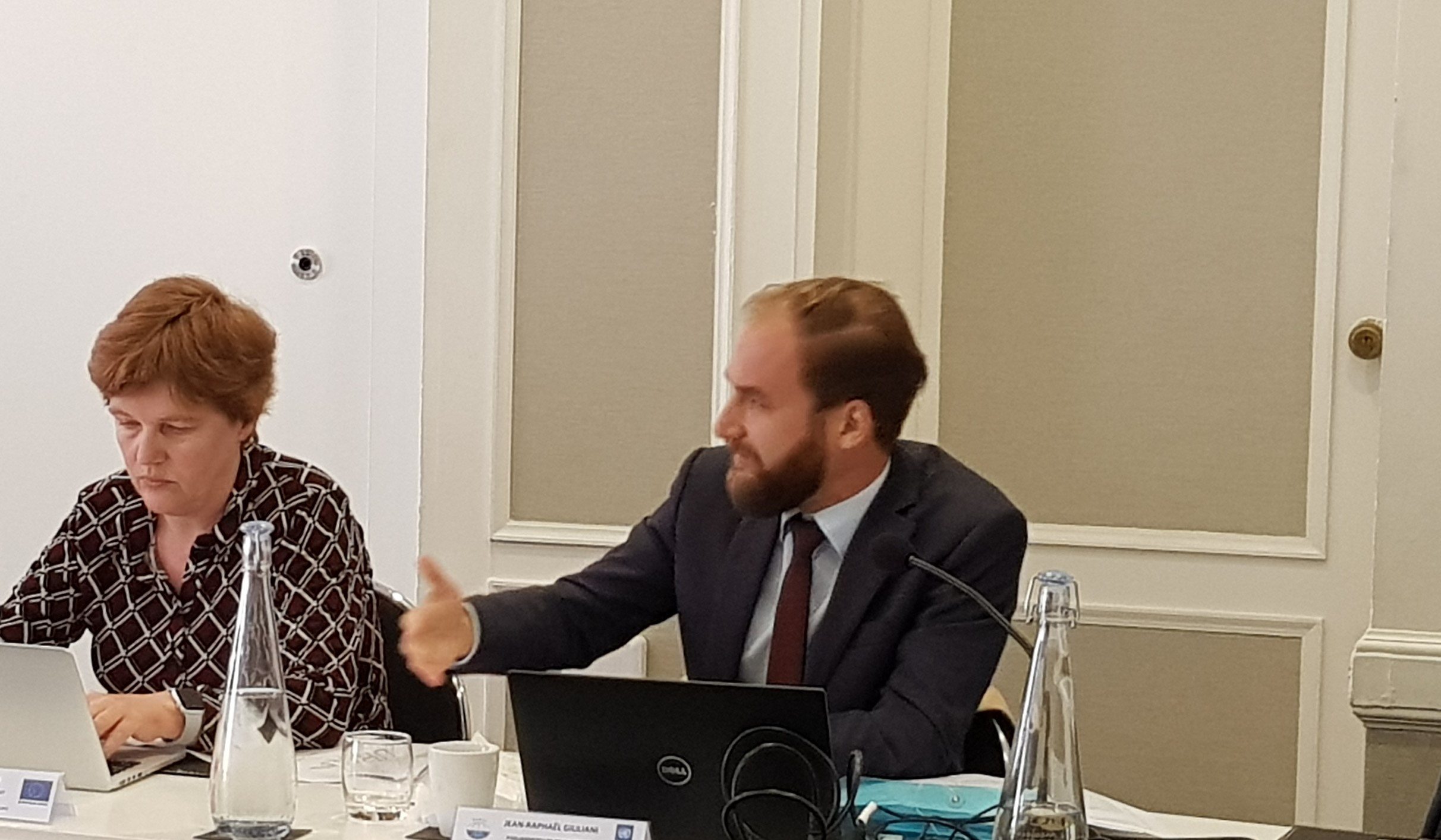 EU representative Marga Peeters and UNDP representative Jean-Raphael Guiliani at PASAI's Governing Board Meeting in Auckland, NZ, 28 Feb – 1 March 2019