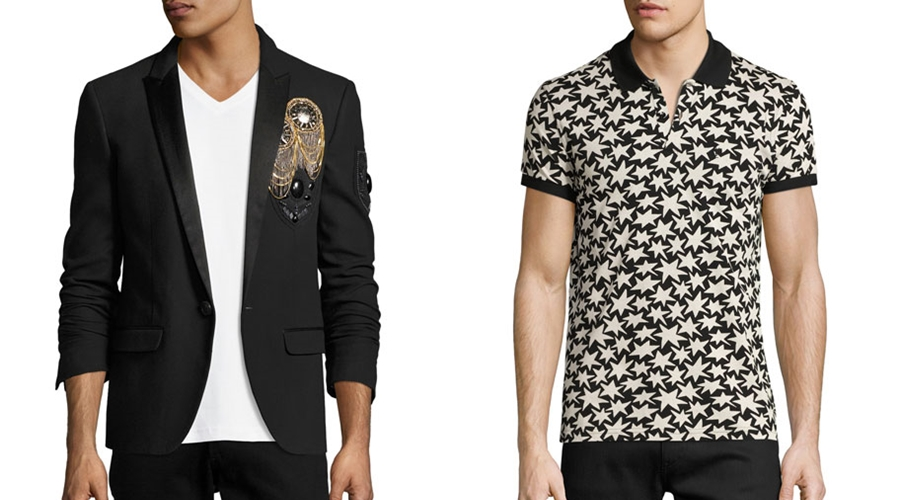 From left to right:   Balmain embellished blazer  & Saint Laurent polo.