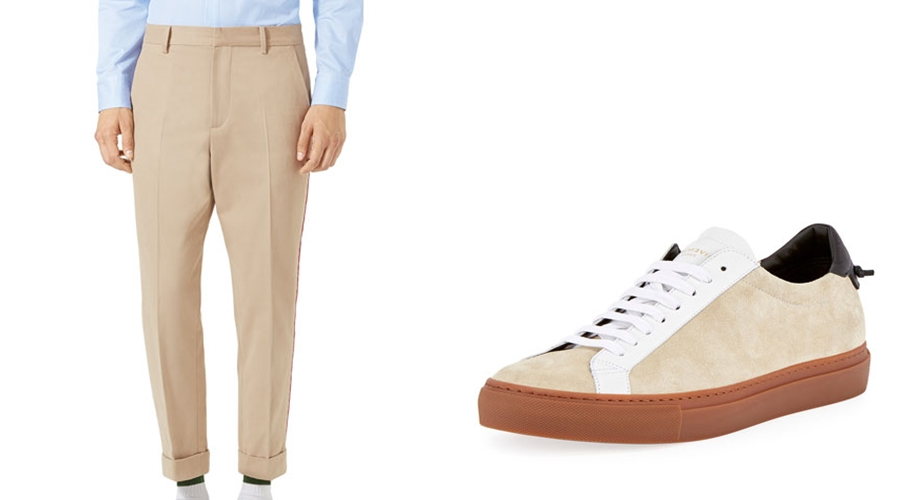 From L to R : Gucci Chino & Givenchy sneakers.