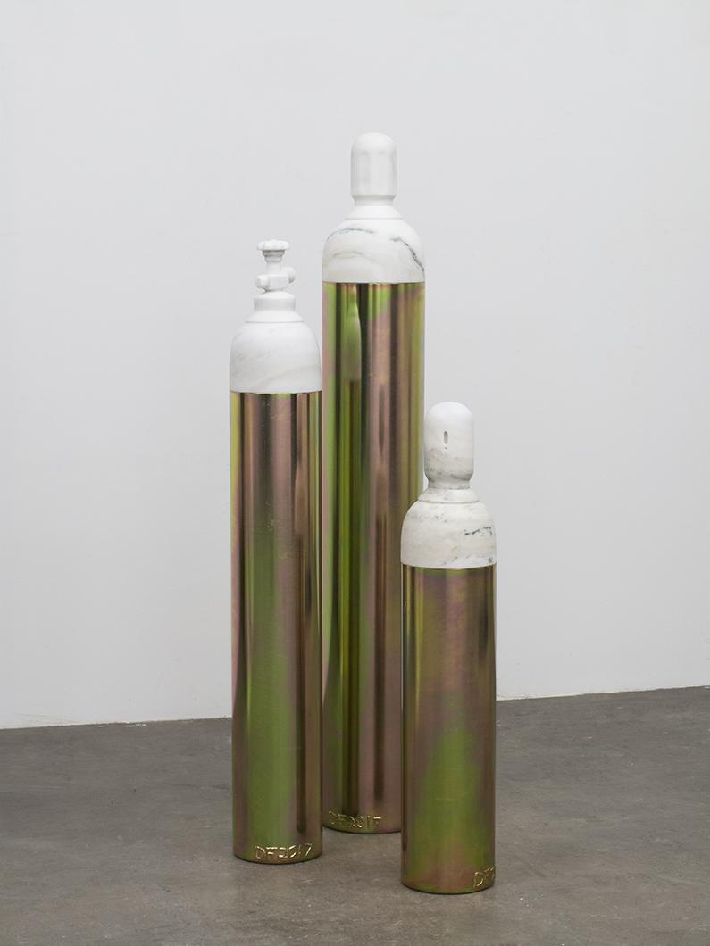 Devin Farrand,Tank 3 4 and 5, 2017,Carrara marble and yellow zinc plated steel,Dimensions Variable,Art Basel Hong Kong