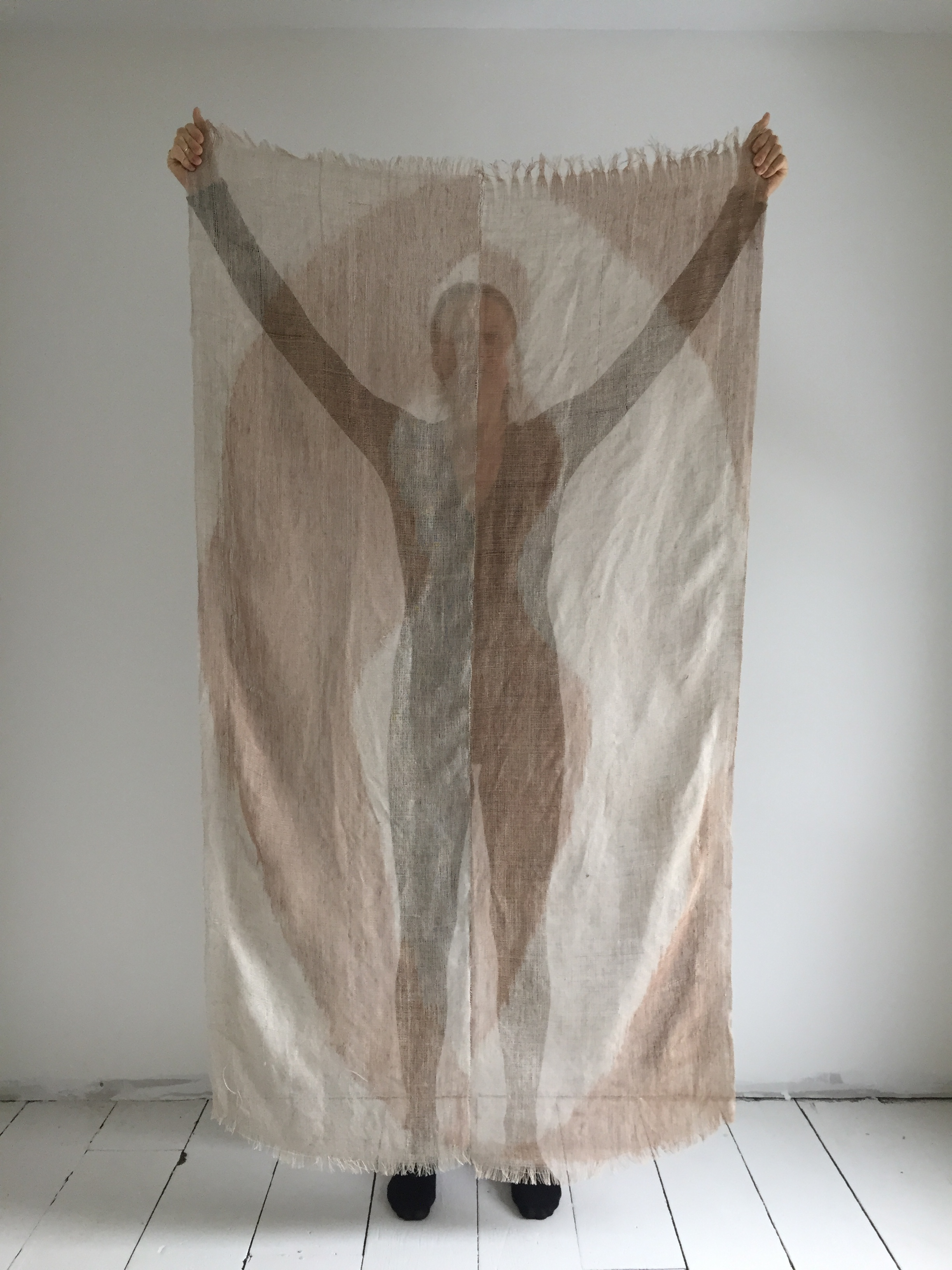 Shroud was woven as two separate panels, painted with foraged clay from the land I live on. The piece was a submission for a publication that explores the feminine as a principle of humanizing and repairing relationship, and whose proceeds support birthing justice. The piece was cut into 144 squares and distributed with the first round of printing, as an offering to unweave and unravel personal and collective conditioning.