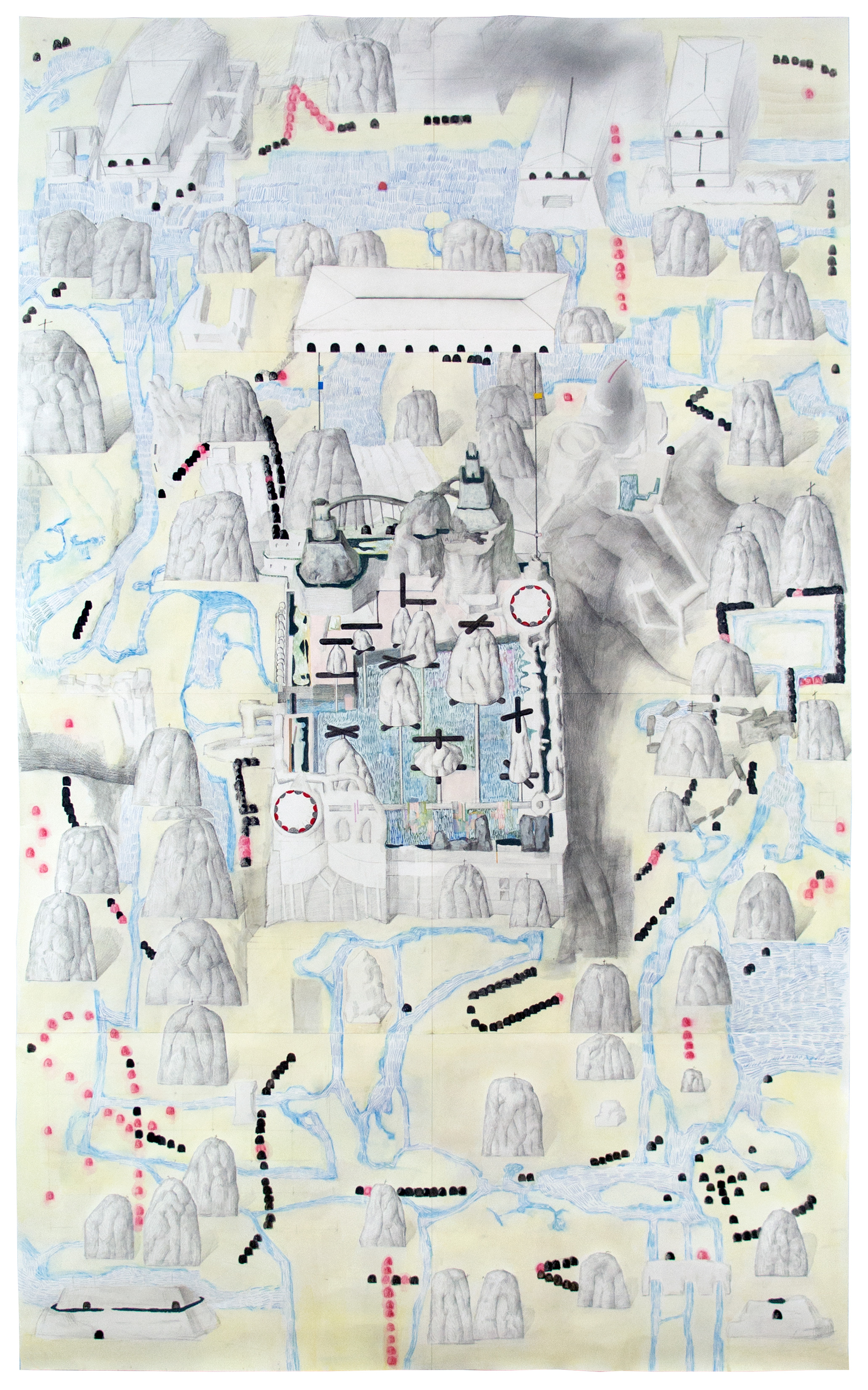Ha Ninh Pham_E4.2 [Institute of Volume]_ Graphite, watercolor, pastel and acrylic marker on paper_2018_56x35in