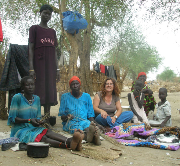 Sharon and the girls, South Sudan. Photo Credit: Sharon Hughes