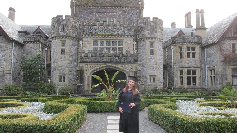 Alexandra at her graduation from Royal Roads University.