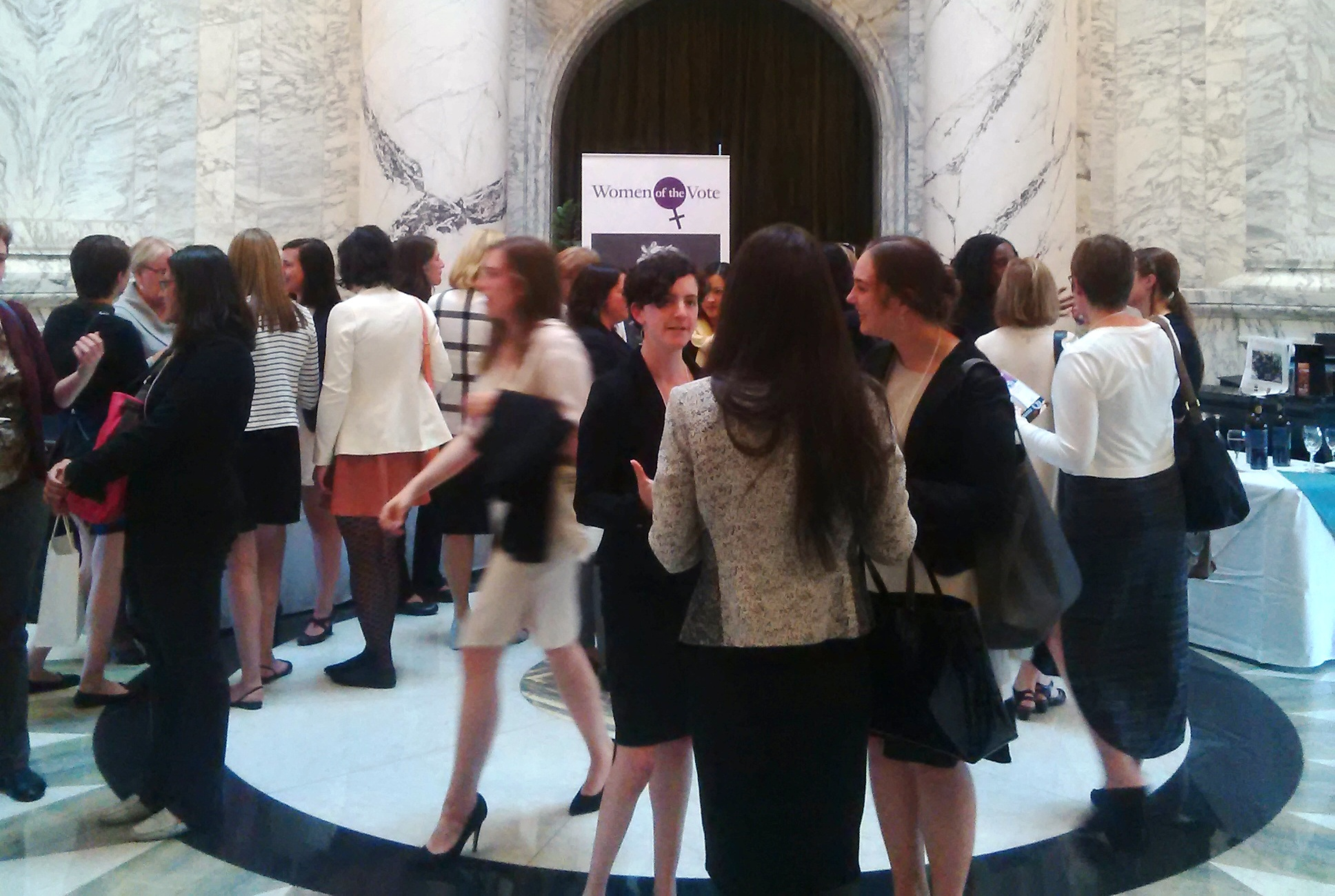 (c) Arianna Merritt. A picture of all the women attending Women's Campaign School 2016 at the BC Legislative Assembly.