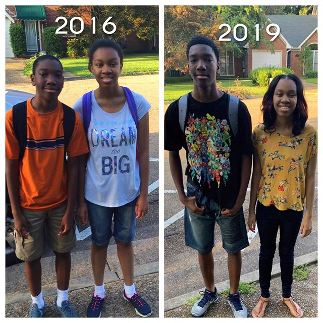 What a difference 3 years make. Now you can't even tell who's the oldest 🥰. Blessings on blessings to all the students, teachers, administration and parents this school year.