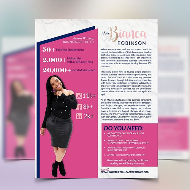A speaker sheet is a letter sized graphic that can be printed that provides information about who you are and what you can offer through speaking at an event. It can be a page of a digital press kit and gives people who inquire about you at their event all they need to know at their fingertips.⠀⠀⠀⠀⠀⠀⠀⠀⠀ ⠀⠀⠀⠀⠀⠀⠀⠀⠀ Things to included in a speaker sheet is: bio, background as it relates to what you're interested in speaking about, social media following, call to action and contact information.⠀⠀⠀⠀⠀⠀⠀⠀⠀ ⠀⠀⠀⠀⠀⠀⠀⠀⠀ Have you ever used a speaker sheet? Do you think it's something you need in your industry?