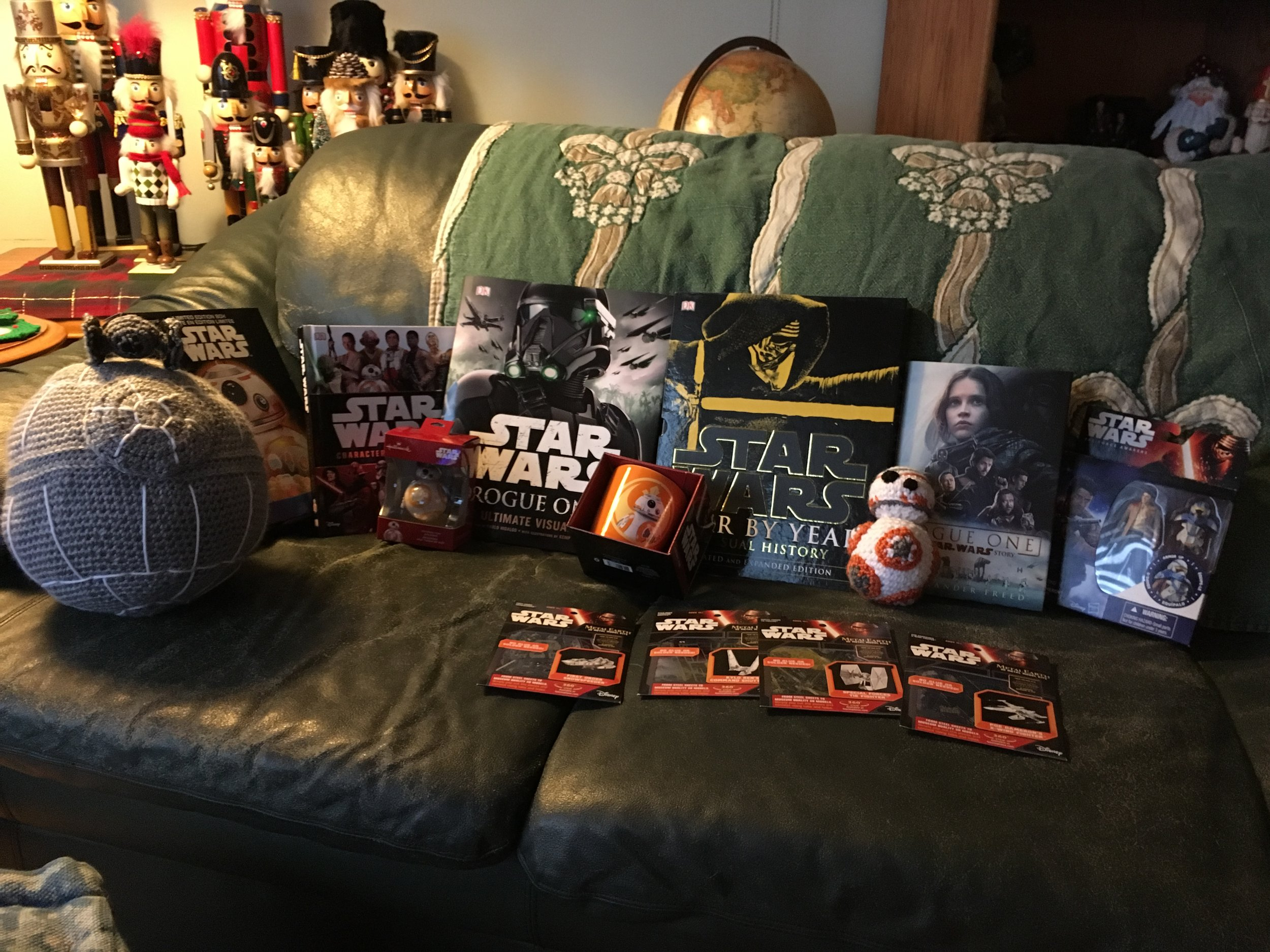 Jayme's 2016 Star Wars Haul, featuring crochet Death Star and BB-8