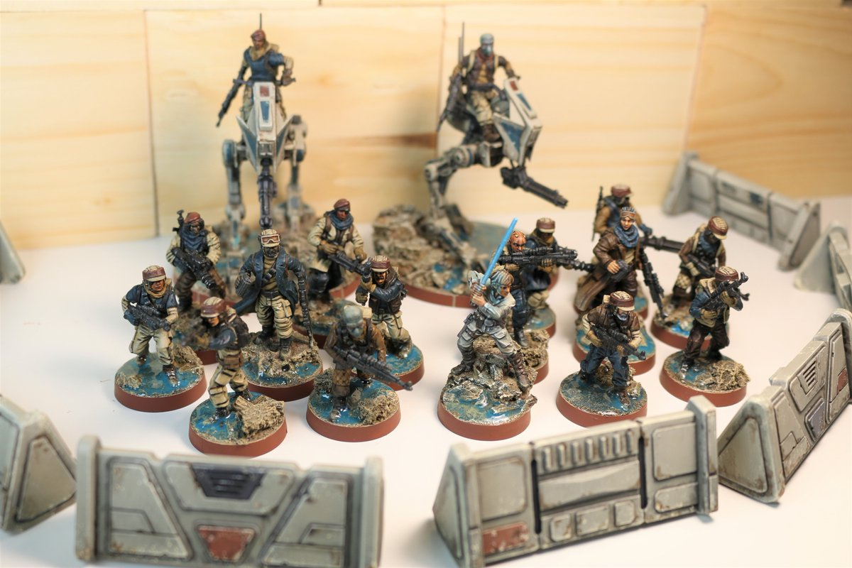 Finished painting (and added resin water bases to) all of my rebel forces for Star Wars Legion.