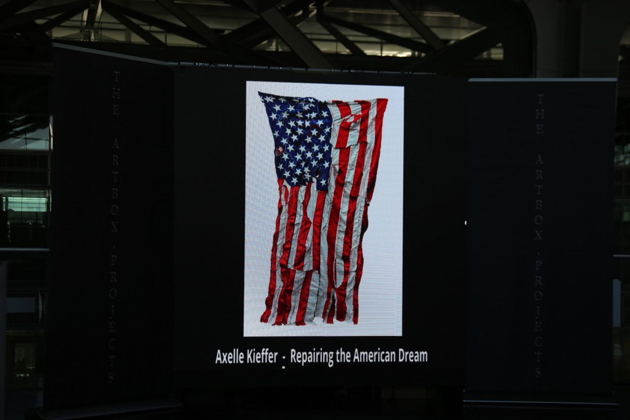 Repairing the american Dream, flag and thread, 2017  (I will post more about the side project I'm working on since last November 2016. Although the medium is different,it's still assemblage. Assembling (papercuts, fiber, objects etc.) is my way to cope with the current events)